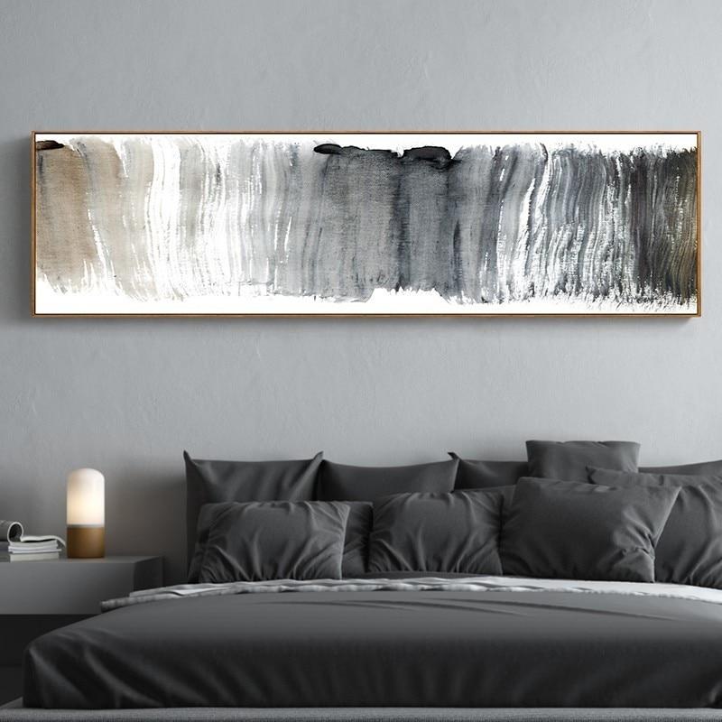 Soyut panoramik siyah ve beyaz tuval resimlerinde Nordic Poster baskılar duvar sanatı resimleri için oturma odası kanepe ev dekor