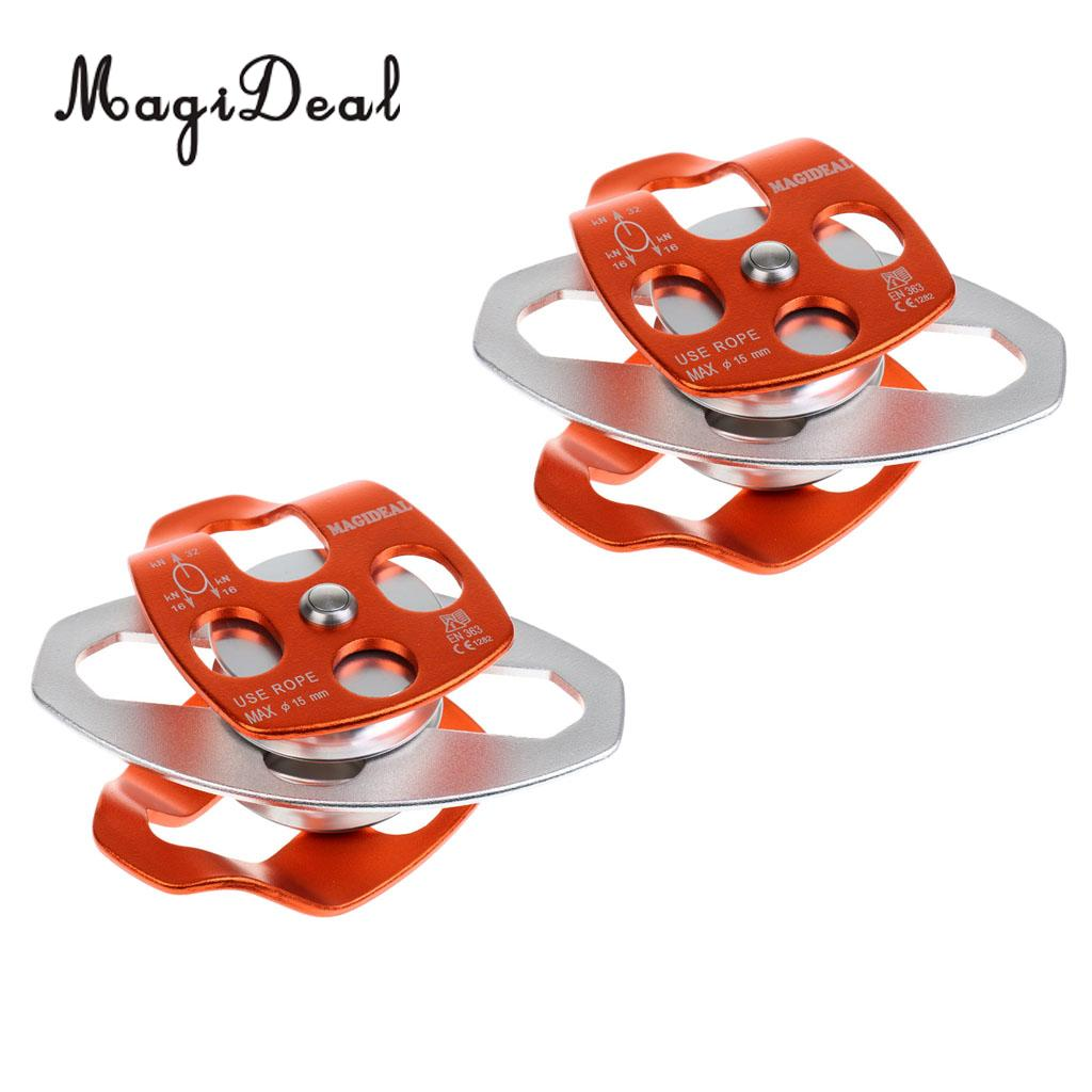 2 Pieces 32KN Outdoor Double Sheaves Mobile Pulley Rescue Tree Climbing Arborist Equipment for Caving Camping