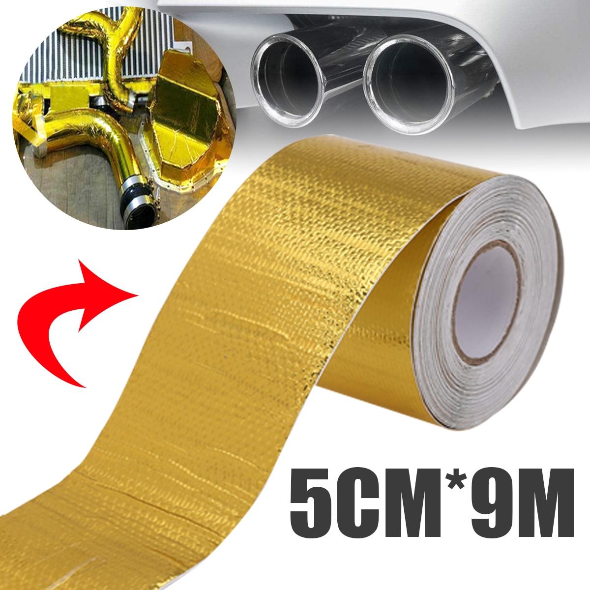 Treyues 1 Roll 5CM*9M Waterproof Fiberglass Adhesive Reflective High Temperature Heat Shield Wrap Tape Gold