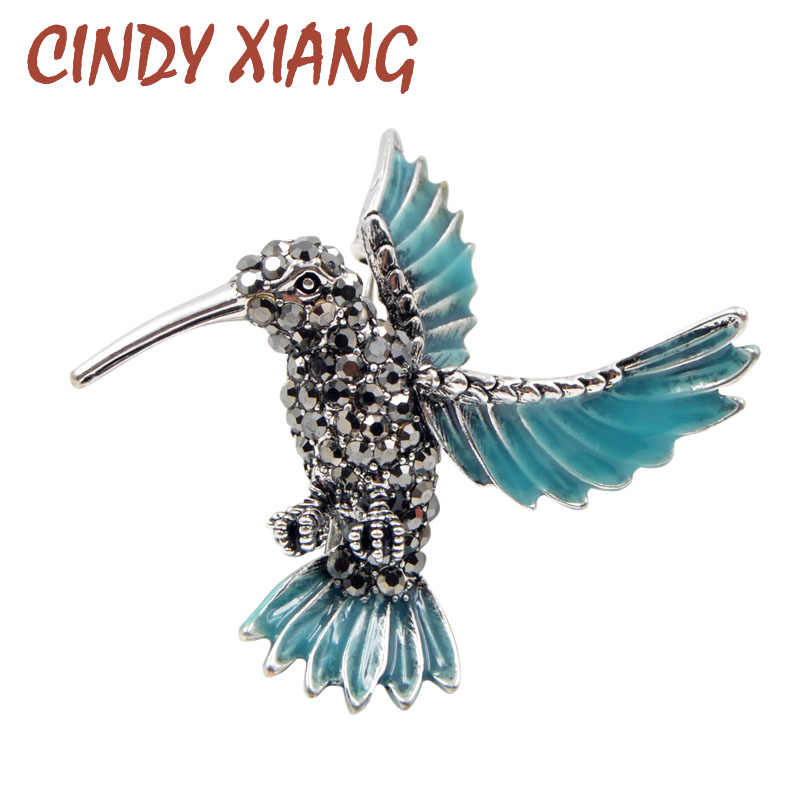 CINDY XIANG New Arrival Rhinestone Hummingbird Brooches for Women Cute Blue Bird Brooch Pin Animal Jewelry Winter Coat Ornament
