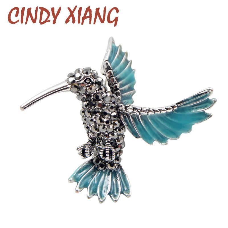 Cindy Xiang Baru Berlian Imitasi Hummingbird Bros untuk Wanita Biru Lucu Burung Bros Pin Hewan Perhiasan Mantel Musim Dingin Ornamen