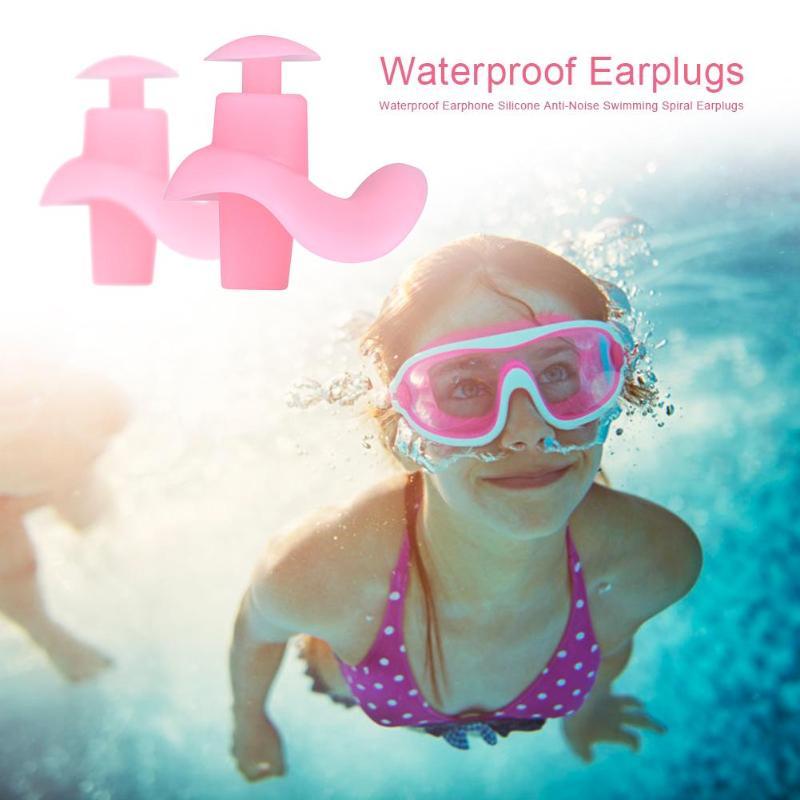 2019 Waterproof Earphone Silicone Anti-Noise Swimming Diving Sports Spiral Earplugs Headphones Ear Plugs Water Sports Equipment