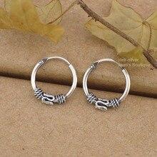 76cea4f4abd8 925 de plata esterlina Bali aro durmientes pendientes hueso anillo A1538