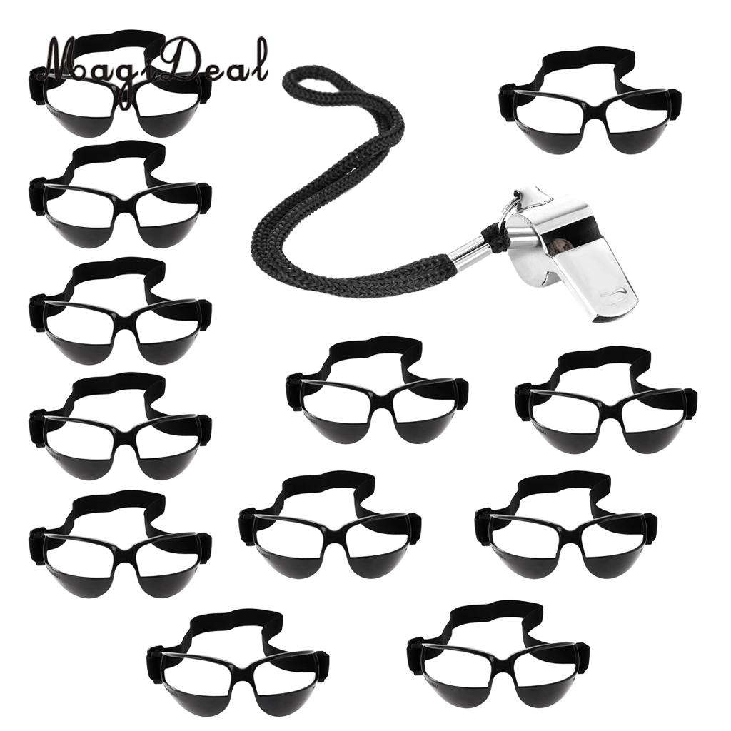 12 Pieces Professional Basketball Dribble Dribbling Goggles Specs Training Glasses Whistle Outdoor Fitness Equipments