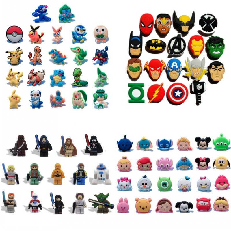 Hot Cartoon PVC Shoe Charms Star Wars Avenger Shoes Accessories Shoe Buckles For Shoes Bracelets Croc Charm JIBZ Gift To Friends