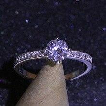 цена на 2019 Amethyst Six Claw Gold Ring Crystal Zircon Ring Valentine Gift for Women Wedding Jewelry Anillos De Diamante Ring Bizuteria