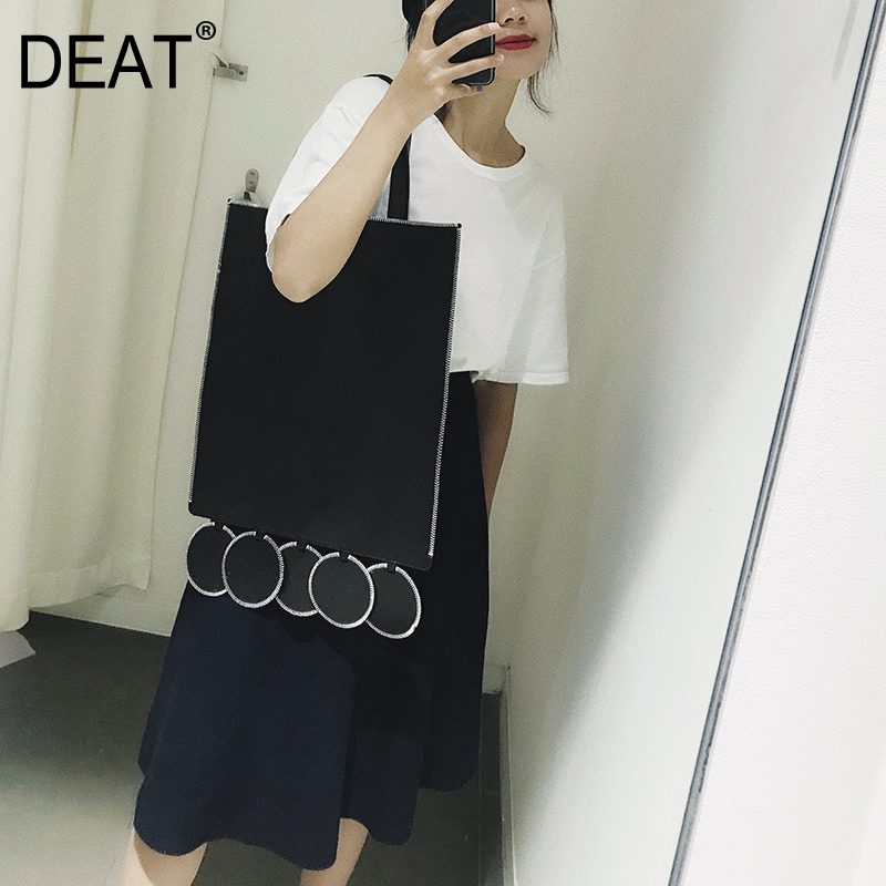 DEAT 2019 New Spring Summer Pu Leather Black Personality Dot Split joint AccessoriesWomen Fashion Tide