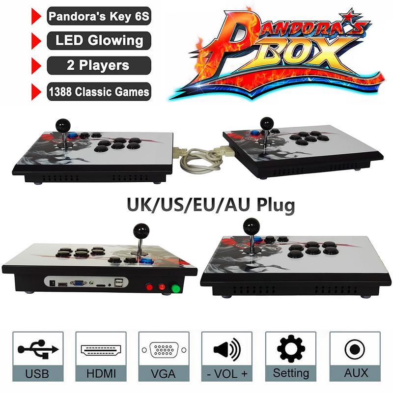 Pandora Box 6s 1388 в 1 Ретро видеоигры двойной палки Разделение Аркады консоли ТВ PC PS3 монитор HDMI, VGA, USB игровых автоматов