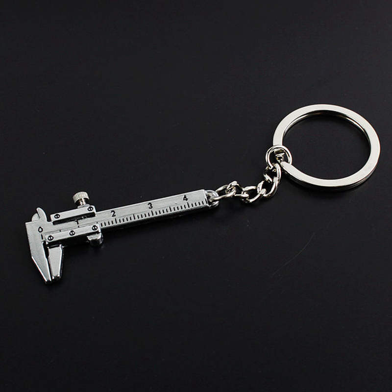 Mini Vernier Caliper Key Ring Car Styling Accessories For Vw Mazda Audi BMW Toyota Opel Etc Keychain Automobile Turbo Key Chains