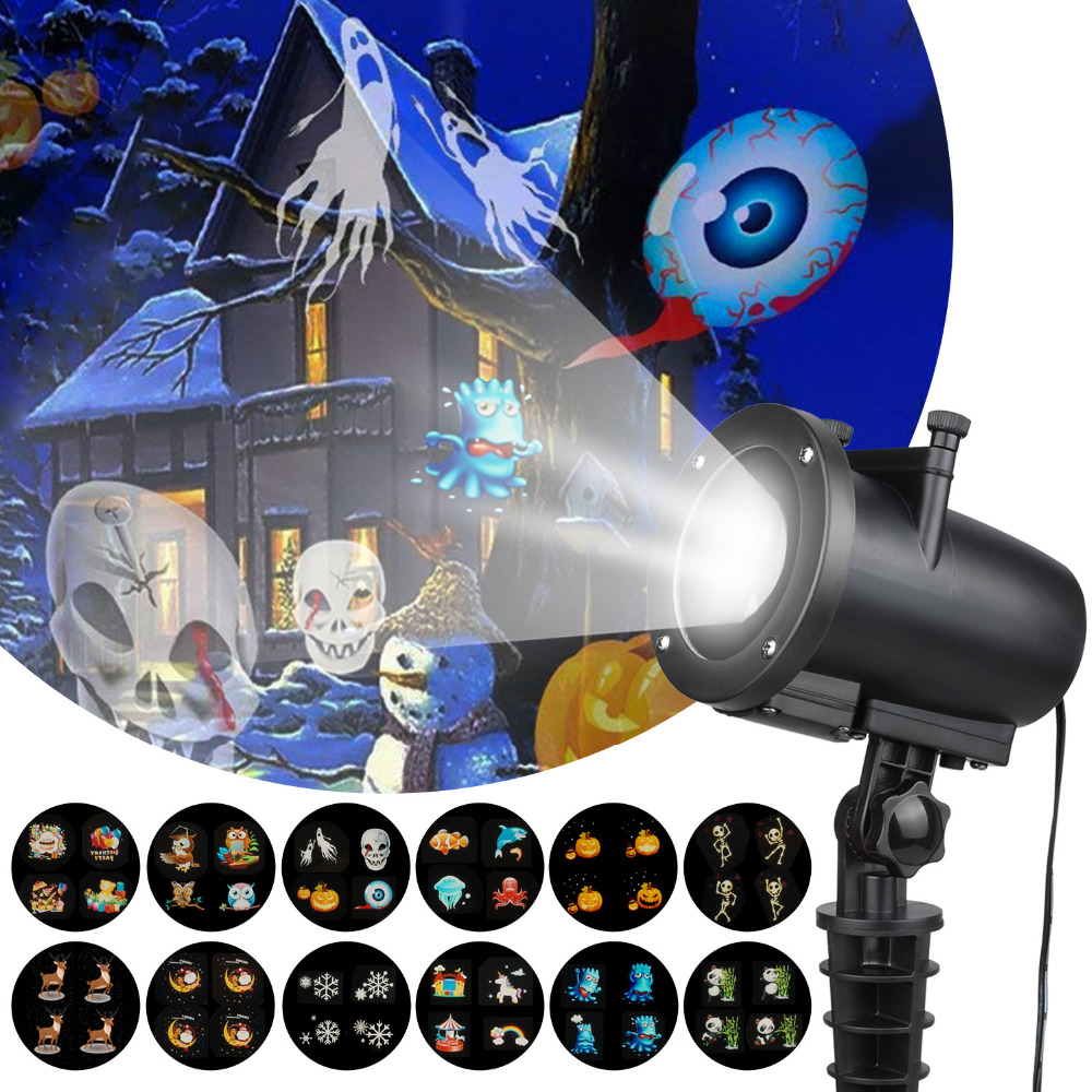 Image 2 - IP65 Halloween Led Party Anime Pattern Halloween Projector KTV Laser Projector christmas decorations for home Dropshipping-in Stage Lighting Effect from Lights & Lighting