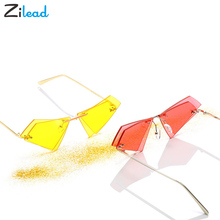 Zilead Fashion Trendy Tinted Color Triangle Double-deck Shaped Sun Glasses Ocean European And Americ
