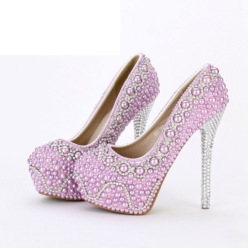 New Handmade Fashion Purple Pearl Wedding Shoes Luxury Rhinestone Stiletto Heel Bridal Dress Shoes Evening Party Prom Pumps цены онлайн