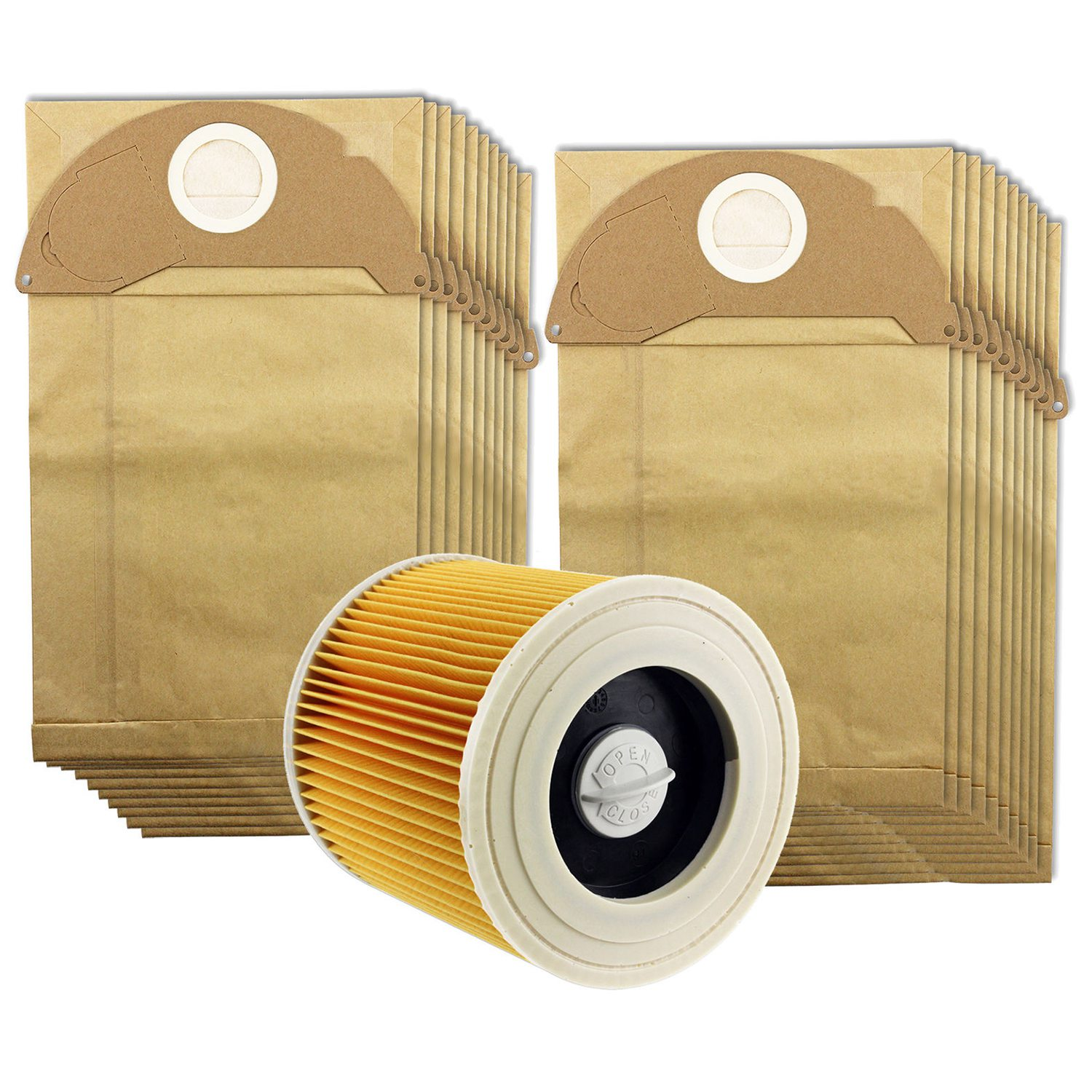 for Karcher Wet /& Dry WD2 WD3.500 Vacuum Cleaner Filter /& 10 Dust Hoover Bags