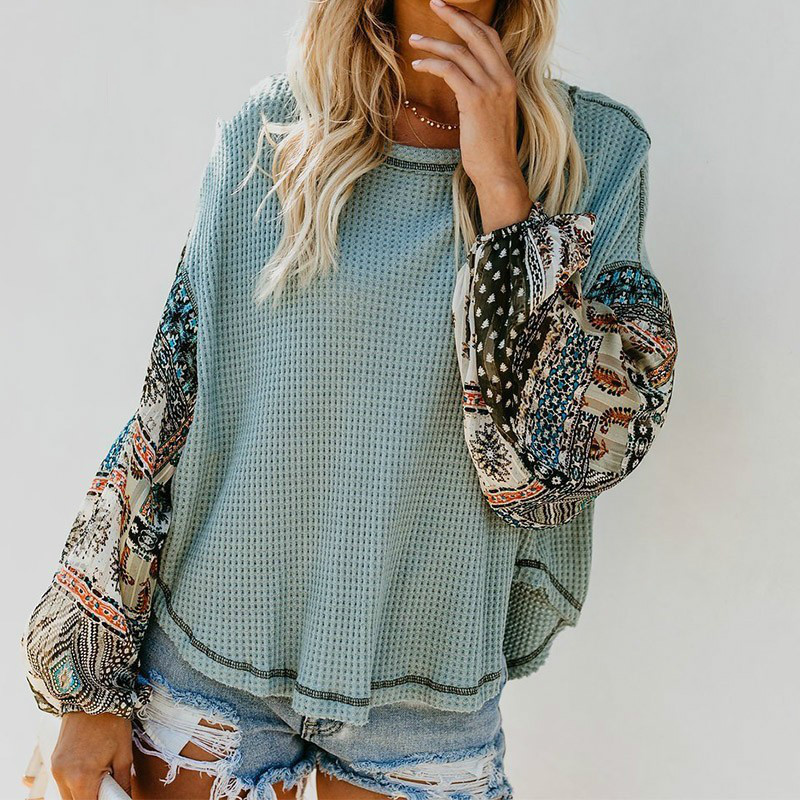 PEONFLY Women Pullovers  Knitted Sweater Boho Printed Long Bell Sleeve O-Neck Pullovers Loose Jumper Female Streetwear Roupas