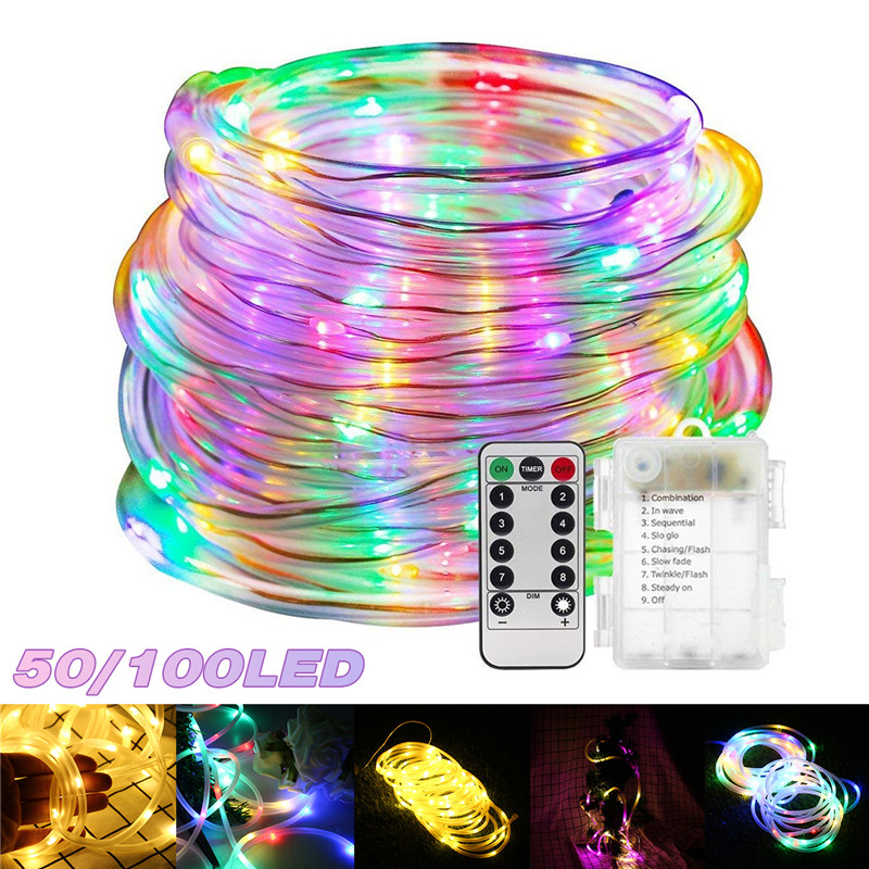 Mising 5M/10M LED String Rope Tube Lights Lamp + Remote Battery Powered Outdoor Christmas Garden Holiday Home Party Lamp