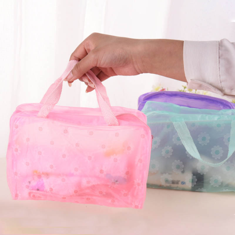 Waterproof PVC Save Space Floral Travel Accessories Transparent Make Up Organizer Toiletry Bathing Storage Cosmetics Bag