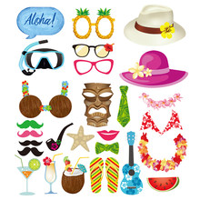 28 Pcs Hawaii Lucu Photo Booth Alat Peraga Kit Pada Tongkat Selfie Kreatif Alat Peraga Liburan Pantai Photobooth Dress- up Aksesoris(China)