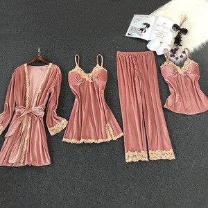 Image 3 - Lisacmvpnel Autumn And Winter New Gold Velvet 4 Pcs Pajamas Sexy Lace keep Warm Cardigan+Nightdres+Pant Pajama Sets For Women