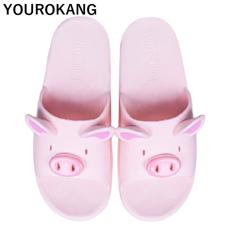 Summer Couple Shoes Home Slippers Cute Indoor Non-slip Bathroom Slippers For Lovers Pig Cartoon Women Slippers Lovely HouseholdSummer Couple Shoes Home Slippers Cute Indoor Non-slip Bathroom Slippers For Lovers Pig Cartoon Women Slippers Lovely Household