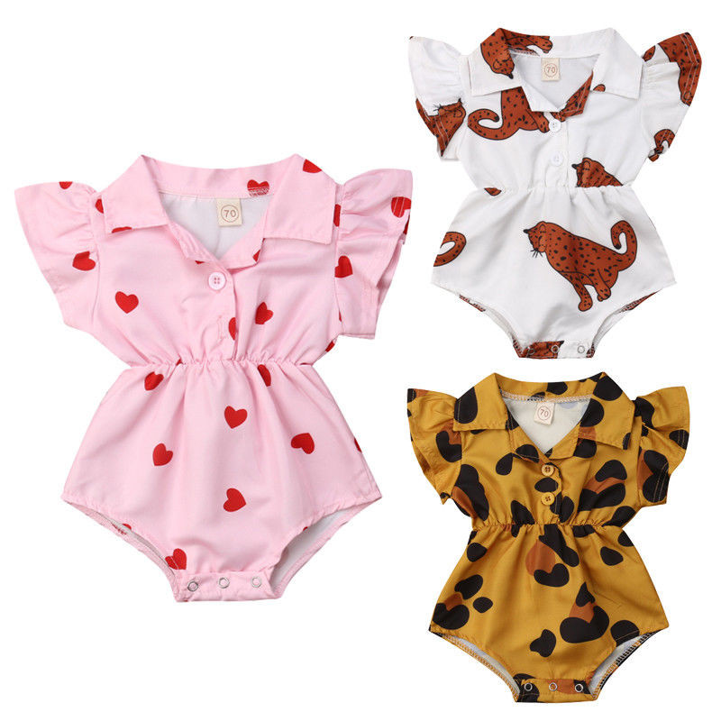 fe65b8eb5bfa Detail Feedback Questions about Vintage Baby Girl Infant Printed Summer  Bodysuits Flying Sleeves V Neck Button Jumpsuit Girl Leopard Heart Print  Sunsuit 0 ...