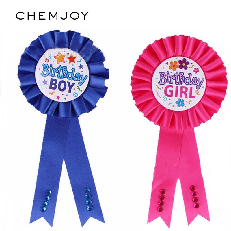 Pink Blue Birthday Boy/Girl Award Ribbon Pin Badge Baby