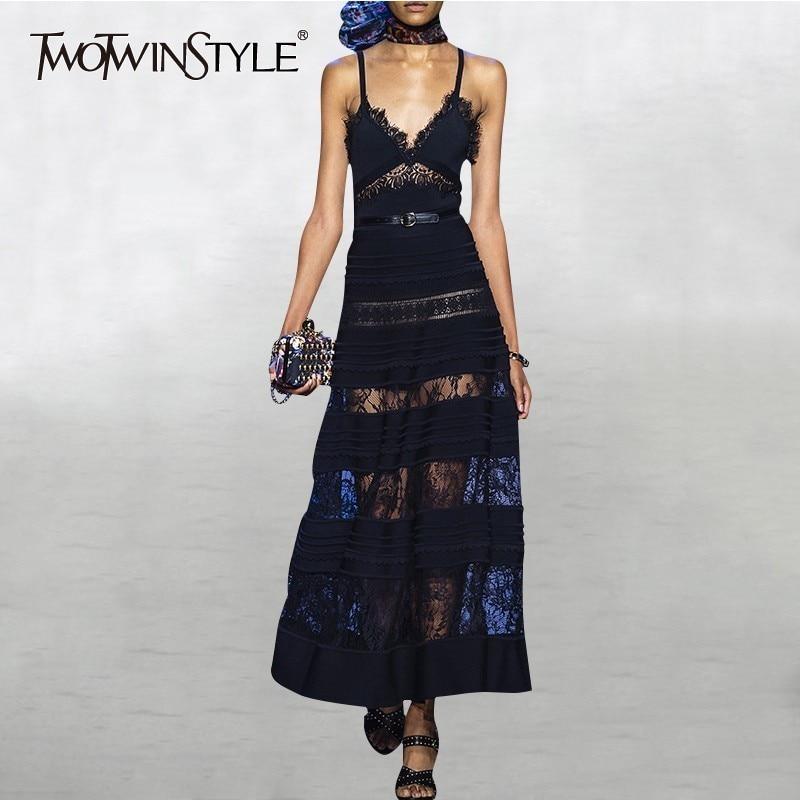 TWOTWINSTYLE Lace Patchwork Spaghetti Strap Dress Summer Female Sleeveless V Neck Sexy Midi Dresses Women Fashion