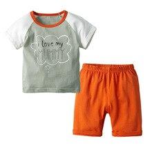 VTOM Summer  Baby Sets Boys Casual Set Kids Short Sleeve Cotton T-shirt + Pants 2PCS Clothes XN46