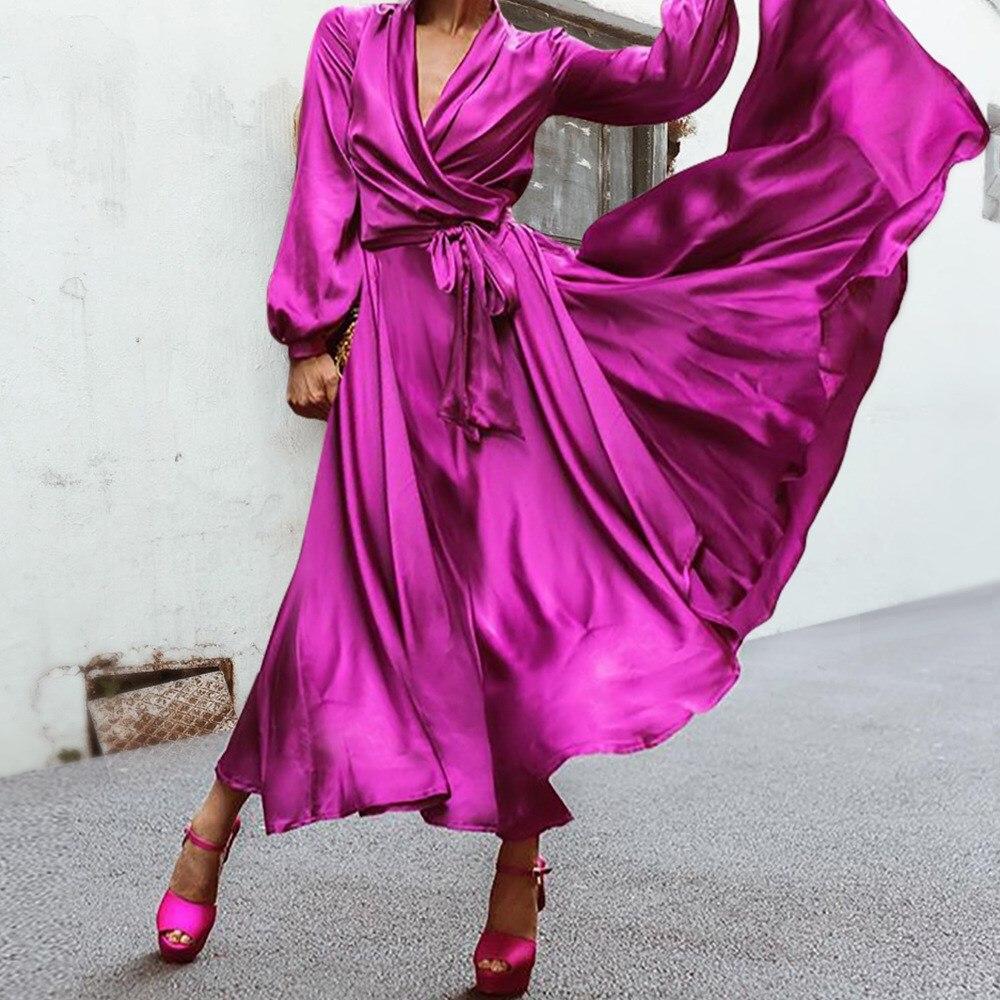 af416484ebf8 Talla grande verano Vintage mujeres seda satén Maxi vestidos elegante  vendaje manga larga fiesta ...