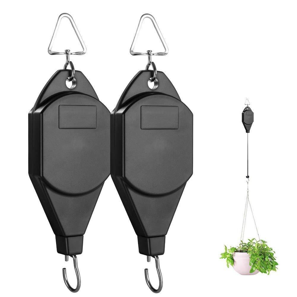 2Pcs Retractable Pulley Hanging Basket Pull Down Hanger Garden Plant Pots Holder