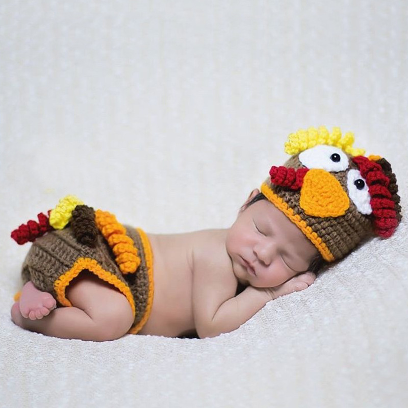 Newborn Photography PropsAccessories Baby Chicken Costume Knitted Crochet Baby Hat+Pants Set Newborn Baby Photo Props Accessory