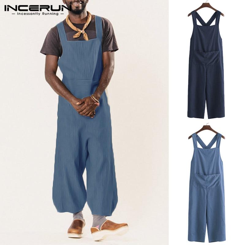 2020 Men Denim Jumpsuit Straps Romper Wide Leg Pants Loose Pockets Solid Color Streetwear Casual Suspenders Men Overalls INCERUN