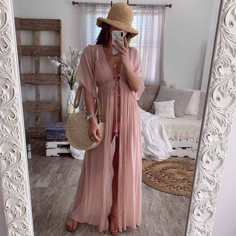 Summer Boho Travel Beach White Sexy Elegant Party Women Long Blouses Tops Casual Big Size Straight Deep V Pleated Mesh Shirts
