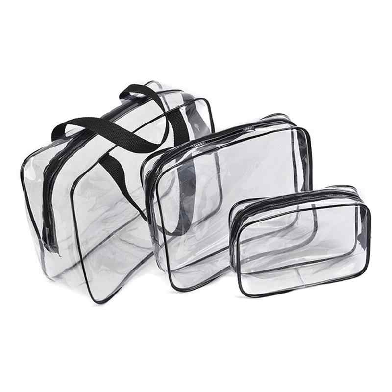 Transparent PVC Cosmetic Bag Men Women Travel Makeup Bag Make up Organizer Wash Storage Pouch Toiletry Kit Case Handbag Hot