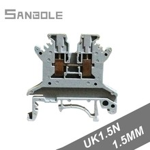 UK1.5N Connection Terminal block 17.5A/660V Wire DIN rail mounted Type 1.5mm square Wiring Cable (50PCS) цена