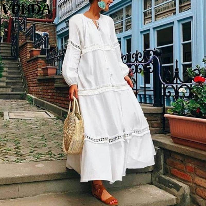 VONDA Bohemian Women Long Dress 2019 Autumn V Neck Hollow Out Long Lantern Sleeve Loose Dresses Casual Solid Vestido Plus Size