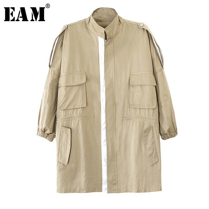 EAM 2019 New Spring Summer Stand Collar Long Sleeve Khaki Loose Pocket Stitch Big Size