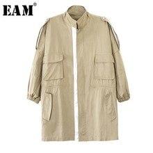 ขนาดใหญ่เสื้อผู้หญิงเสื้อแฟชั่น [EAM] 2019 ใหม่ฤดูใบไม้ร่วงฤดูหนาวคอยาวแขนยาวสีกากีหลวม