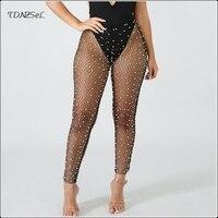 Women Sexy Mesh Diamonds Fishnet Sheer Pants Elastic High Waist Sex Skinny See Through Pearls Trouser Ladies Nightclub Wet Look