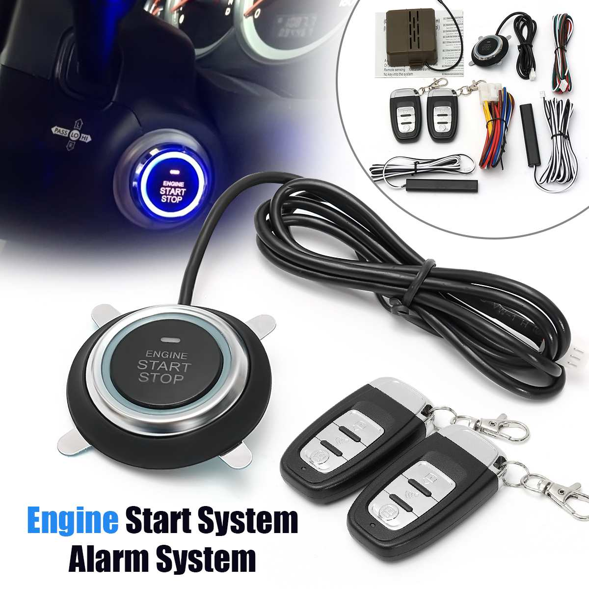 Audew Car Engine Start Stop SUV Keyless Entry Engine Start Alarm System Push Button Remote Starter Stop Auto Car Accessories