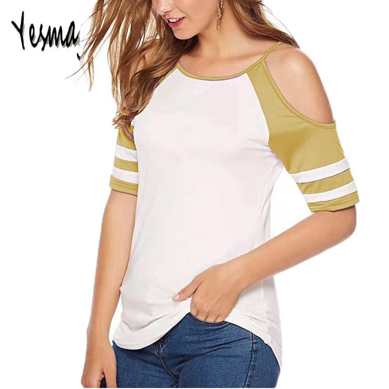 Футболка женская 2019 плюс размер 5XL с открытыми плечами Лоскутная футболка женская сексуальная с коротким рукавом летняя повседневная футбо