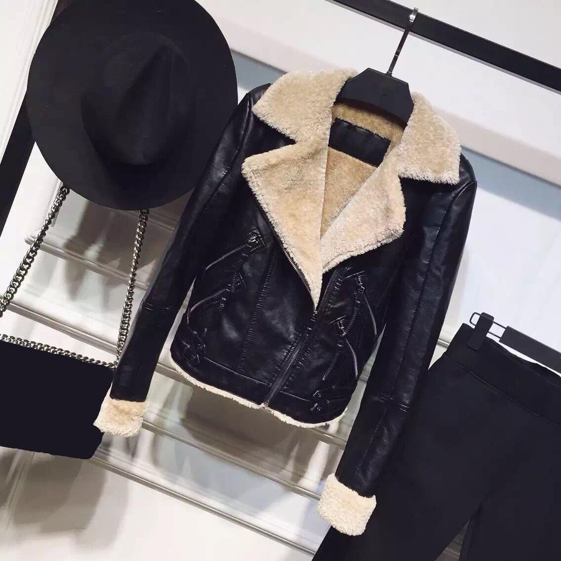 Hiver Épais Manteau Survêtement Pu Automne Cultures Agneau Faux 2018 En Noir Fourrure Agneaux Veste Nouvelle De Laine Cuir Mode Femmes Col wqvpHPC