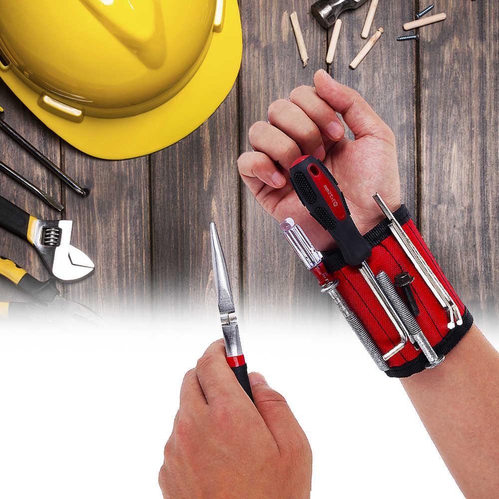 1 stücke Magnetische Armband Hand Wraps Werkzeug Tasche Einstellbare Elektriker Handgelenk Schrauben Nägel Bohrer Halter Gürtel Armband für Zu Hause Reparieren