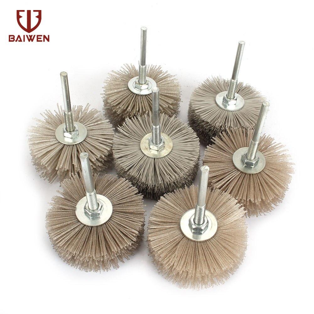 7Pcs Abrasive Grinding Head Brush Abrasive DuPont Nylon Wood Polishing Wheel 80 600 Grit
