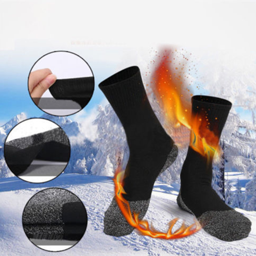 1Pair Winter Warm Plus Thicken Crew   Socks   For Men Black Soft Thermal Sport   Socks   For Outdoor Ski Dress Keep Feet Warm Calcetines