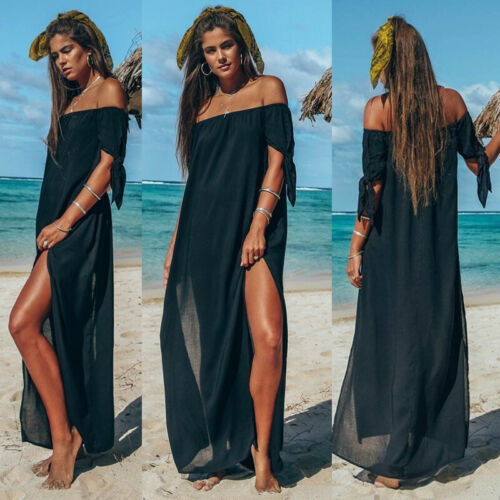 New Women Maxi Summer Beach Long Dress Off Shoulder Holiday Solid Color Cover Up Skirt Swimsuit Beachwear(China)