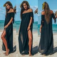 Новый для женщин макси летнее пляжное длинное платье с открытыми плечами праздничное одноцветное цвет Cover Up юбка купальник пляжная