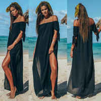 New Women Maxi Summer Beach Long Dress Off Shoulder Holiday Solid Color Cover Up Skirt Swimsuit Beachwear
