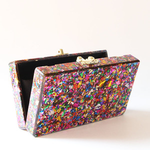 Image 5 - Colorful Acrylic Box Clutches Metal Clasp Black Fabric Shoulder Bags Women Lady Brand Beach Summer Acrylic Box Purse Wallet