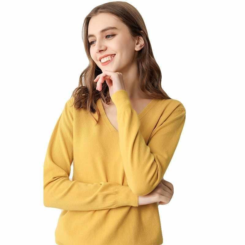 Peonfly 새로운 2019 봄 소프트 스웨터 여성 풀오버 니트 탑스 v 넥 여성 긴 소매 점퍼 플러스 사이즈 솔리드 스웨터