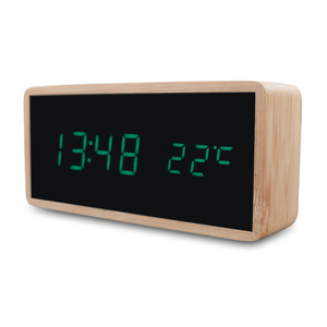 Wooden LED Alarm Clock With Mi